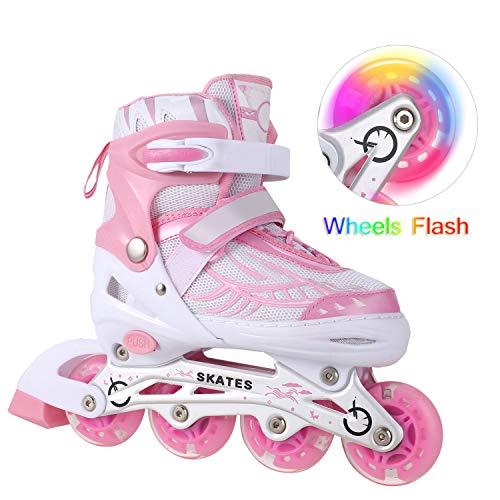 WeSkate Inline Skates Rollerblades Roller Skates with Adjustable Size Light up Wheel Fun Flashing Skate for Toddler Boys Girls Kids ()