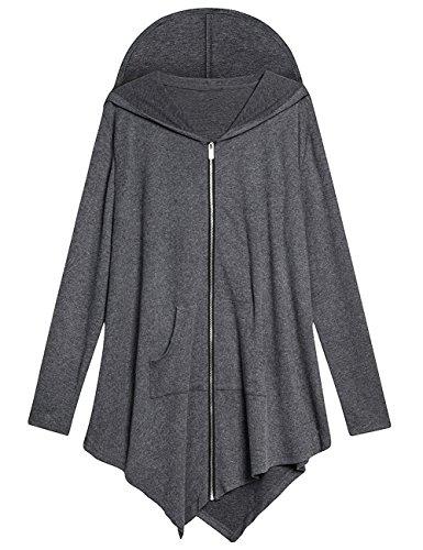AMZ PLUS Women Large Size Hoodie Coat Irregular Sweatshirt Jacket Dark Grey 3XL