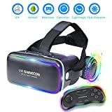 EKIR 3D VR Headset With Remote Controller,VR Goggles Virtual Reality Headset VR Glasses for 3D Video Movies Games for Apple iPhone, & Andrid Smartphones