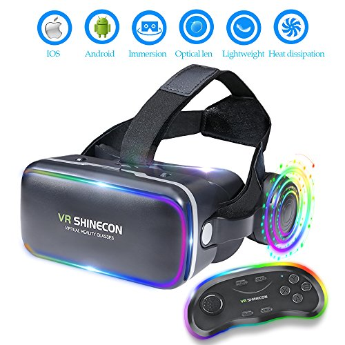 EKIR 3D VR Headset With Remote Controller,VR Goggles Virtual Reality Headset VR Glasses for 3D Video Movies Games for Apple iPhone, & Andrid Smartphones by EKIR