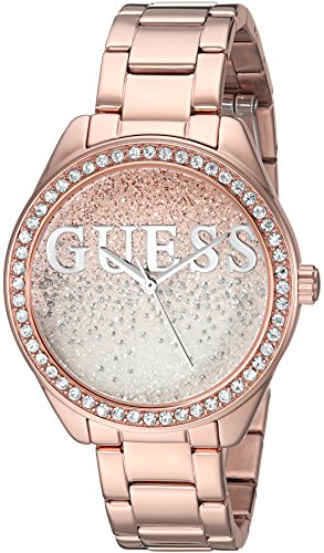 GUESS  Rose Gold-Tone Stainless Steel Crystal Glitter Logo Watch. Color: Gold-Tone (Model: U0987L2) (Watch Rose Guess Gold)