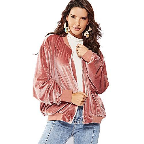 NOVMAY Women's Bomber Jacket Coat Zip Up Biker Padded Outwear Loose Batwing Sleeve Quilted Lightweight Jackets Pink Velvet (Pink, -