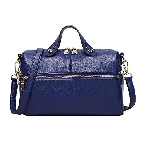 Mujeres Top Mango Satchel Bolsos Bolso De Hombro Bolsa De Bolsa De Color Multicolor Blue1