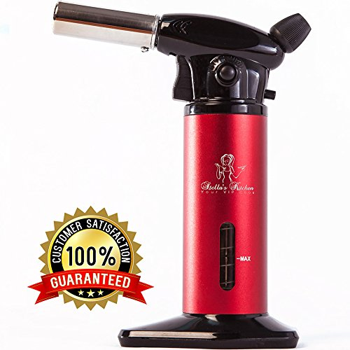 Kitchen Torch for Creme Brulee-Culinary Torch-Butane Torch-Blow Torch-Cooking Torch-Butane Food Torch with Fuel Gauge-Chefs Torch-Kitchen Blowtorch Lighter-Dabs Torch by Stella's Kitchen Vip Full Kit