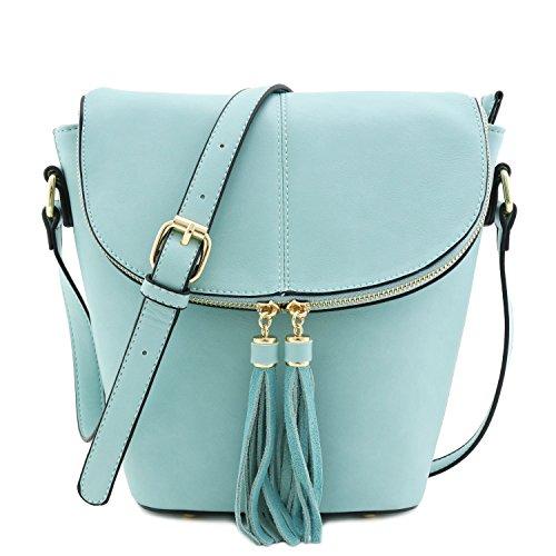 Flap Top Bucket Crossbody Bag with Tassel Accent (Dusty Blue)