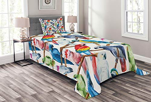 Lunarable Parrots Bedspread Set Twin Size, Colorful Parrots on Tree Branches Exotic Jungle Theme Watercolor Painting Effect, Decorative Quilted 2 Piece Coverlet Set with Pillow Sham, Multicolor ()