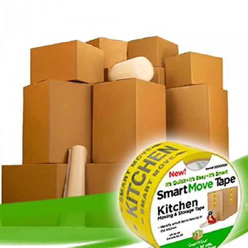 Packing Kit - UBOXES Moving Boxes - 2 Room Bigger Smart Moving Kit - 28 Boxes,Tape, more