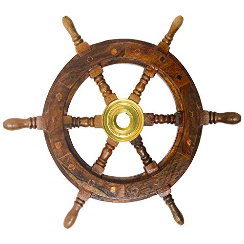 Nautical Decor Sheesham Wood Decorative Ship Wheel with Brass Center Home Decoration Gifts (12