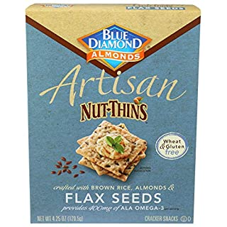Blue Diamond Almond Artisan Nut Thins Cracker Crisps, Flax Seeds, 4.25 Ounce