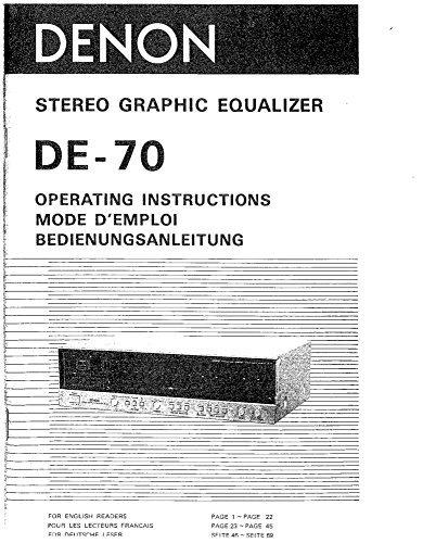 (Denon DE-70 Graphic Equalizer Owners Instruction Manual Reprint [Plastic)