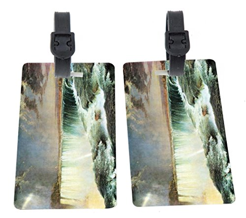 Frederick Edwin Church Art Niagara Falls Design Plastic Flexi Luggage Identifier Tags + Strap Closure by Rikki Knight