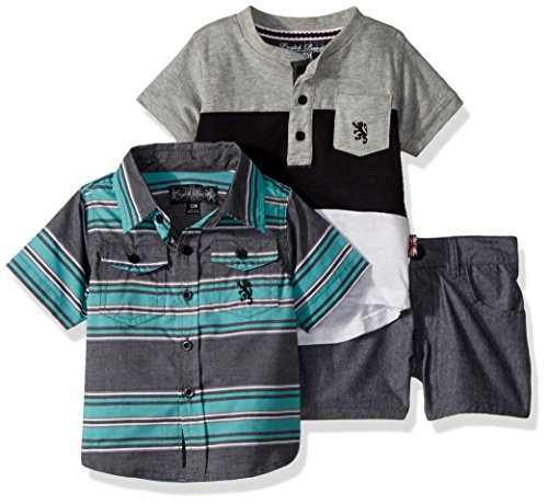English Laundry Baby Boys Striped Sport Shirt, Sleeve Henley and Chambray Short, Multi Plaid 12M ()
