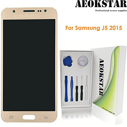 Aeokstar For SAMSUNG GALAXY J5 2015 J500 J500M J500F J500Y J500H J500FN ( OLED ) LCD Touch Screen Digitizer Glass Assembly Replacement & Full Repair Tools Kit (GOLDEN-OLED SCREEN)