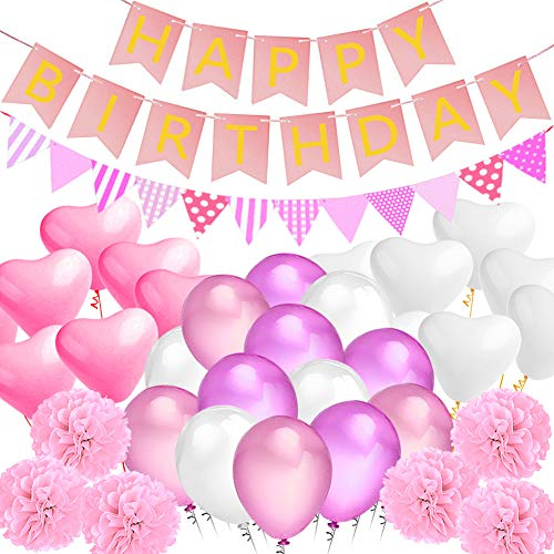 (Amteker Party Birthday Decorations, Happy Birthday Banner Flags, 9 Tissue Paper PomPoms, 40 Latex Balloons, 20 Heart Balloons, for Birthday, Wedding, Baby Shower, Parties, Main)