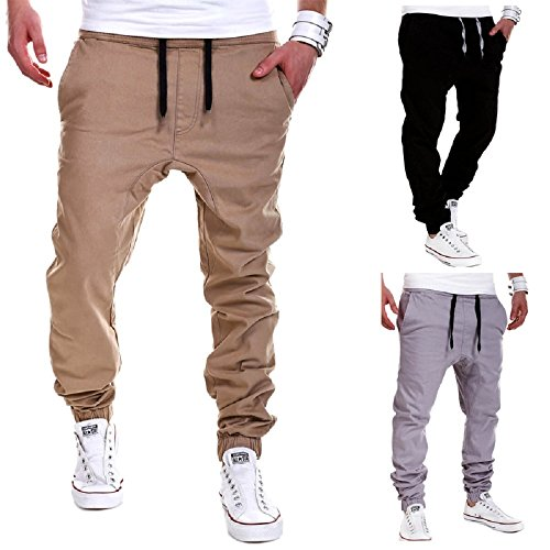Calsky Men's Outdoor Casual Running Jogger Bottom Pants Trousers (Medium, Khaki)