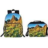 iPrint 19' School Backpack & Lunch Bag Bundle,Saguaro Cactus Decor,Picacho Peak at Sunrise Surrounded by Barren Area Hostile Living Contidions Theme,Green Blue,for Boys Girls