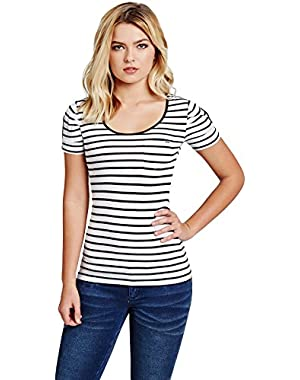 GuessFactory Adria Short-Sleeve Striped Top