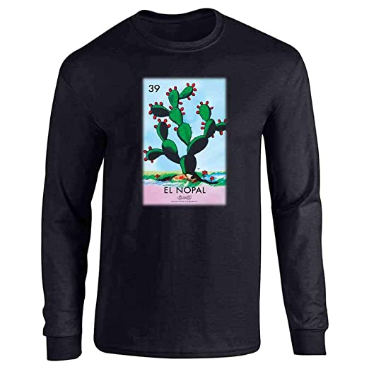 4020d710d Amazon.com: El Nopal Cactus Loteria Card Mexican Bingo Long Sleeve T-Shirt:  Clothing