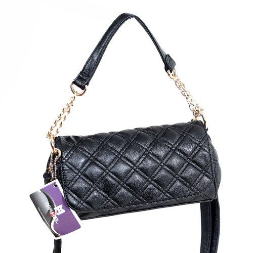 Mahel Small Fashion Leather Bag Damen Henkeltasche / Umhängetasche MH 7801-10 Schwarz 4O9fI3