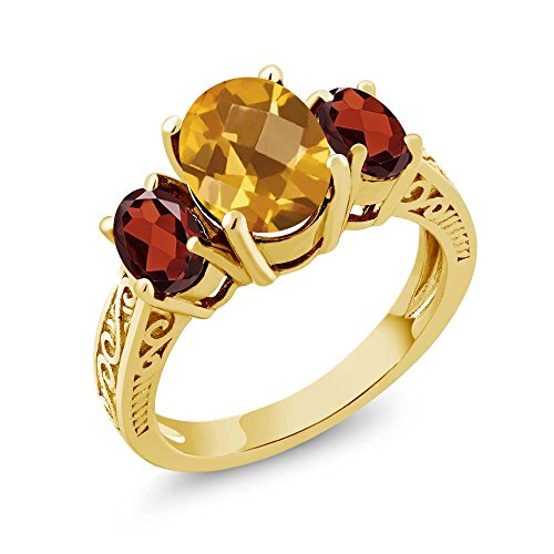 2.70 Ct Oval Yellow Citrine Red Garnet 925 Yellow Gold Plated Silver Ring (Size 7) ()