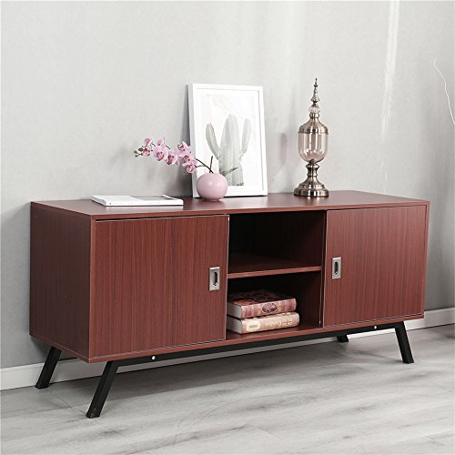 Dland TV Stand 59'', Composite Wood Board, 2-Shelf & 2-Cube & 2-Door Entertainment Center Console Storage Cabinet for Living Room Bedroom, WK-GZ003-RM Red-Maple, 1 Pack by Dland (Image #9)