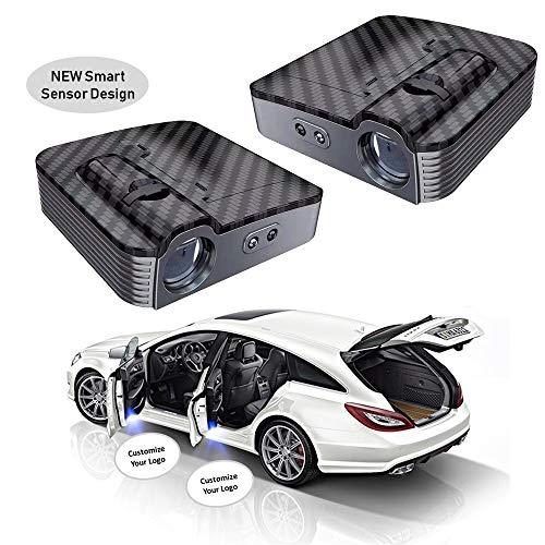 2pcs Personalize Universal Wireless Smart Sensor Car Projection LED Projector Door Ghost Light Shadow Light Welcome Light Laser Logo Courtesy Lights Lamps in Carbon Fiber Pattern (Custom Logo 2 Pcs)