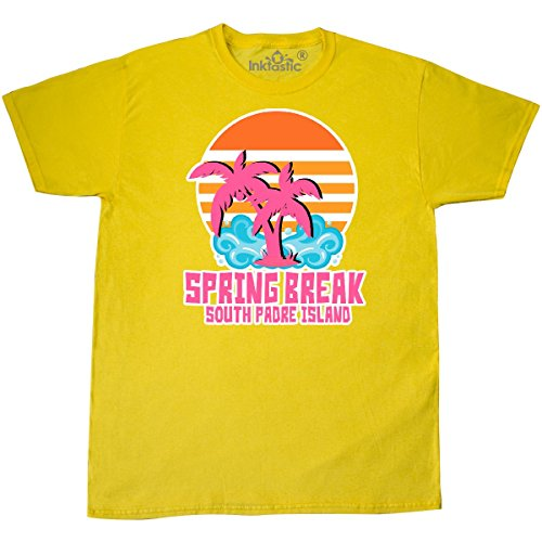 South Island Shirt - Inktastic - Spring Break on South Padre Island with Palm T-Shirt X-Large Yellow