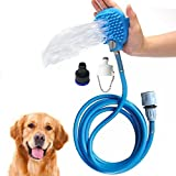 Geekercity Pet Bathing Tool, Dogs Cats Shower Brush Grooming Tool Sprayer and Scrubber, with 7.5 Foot Hose and 2 Hose Adapters, Indoor/Outdoor Use