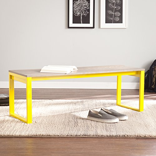 Contemporary Oak Bench - Holly & Martin Beckett Bench, Burnt Oak Seat with Citrine Frame Finish