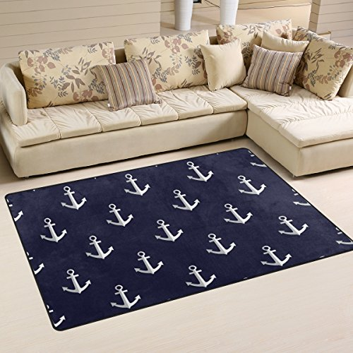 Sunlome Sea Style Nautical Anchor Area Rug Rugs Non-Slip Indoor Outdoor Floor Mat Doormats for Home Decor 60 x 39 inches (Outdoor Decor Anchor)