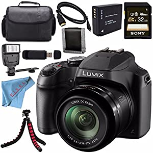 Panasonic Lumix DC-FZ80 DC-FZ80K Digital Camera + Rechargable Li-Ion Battery + Sony 32GB SDHC Card + Carrying Case + Tripod + HDMI Cable + Memory Card Wallet + Card Reader + Fibercloth + Flash Bundle