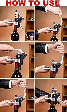 Sacacorchos Abrebotellas de Acero Inoxidable Camarero Abridor de Vino Tinto de Metal Sacacorchos Mango de Botella Bombas de Botella Sacacorchos Herramienta de Corcho lucar
