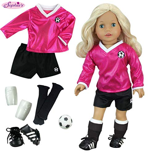 18 inch Doll Clothes Outfit, Fuchsia Doll Soccer Outfit 6 Pc. Set Complete Doll Sports Set of Fuchsia Shirt, Black Shorts, Doll Soccer Ball, Doll Black Socks & Doll Shoe Cleats