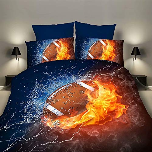 RORA Bedding Duvet Cover Set 2 Piece Set 1 Duvet Cover+1 Pillowcase- 3D Sports Football Microfiber Bedding -Football Twin 59