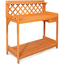 Merax Potting Bench Outdoor Garden Work Station Planting Wood Construction w/ Hooks and Storage Shelf (Natural Color)