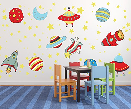 Extra Large Giant Solar System Wall Decals with Rockets and Alien Flying Saucer WDPRGR10002-A-Extra Large by Go Go Dragon