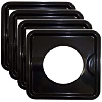 "Mandycng Heavy Duty Black Steel Square Reusable Gas Burner BIB Liner Covers 8"" Set of 4"
