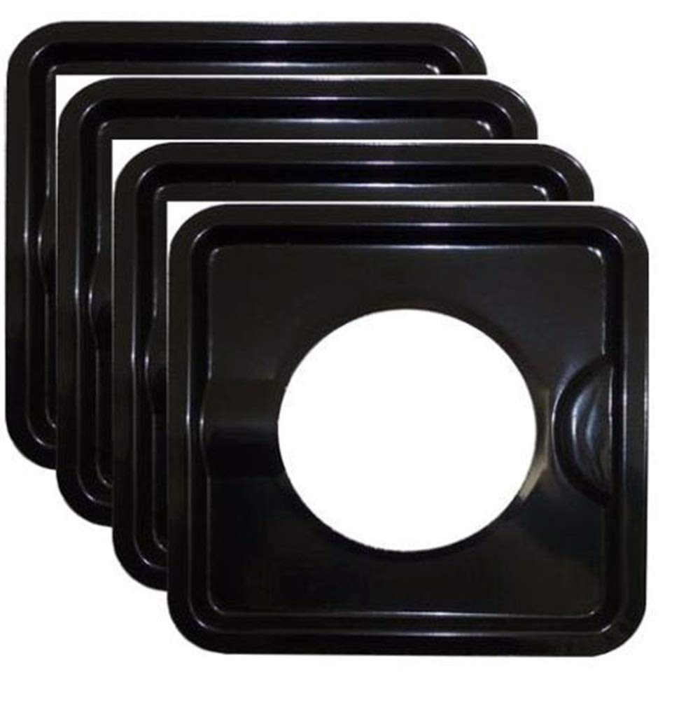 Mandycng Heavy Duty Black Steel Square Reusable Gas Burner BIB Liner Covers 8'' Set of 4