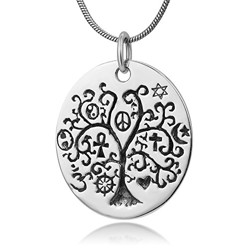 Chuvora Sterling Silver Tree Of Life w/Pentacle Peace Yin Yang Cross Ohm Star Symbol Pendant Necklace ()