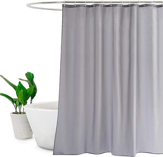 "Soild Liner Vinyl Water Repellant Bathroom Shower Curtain Fabric 72/"" w// Hooks"