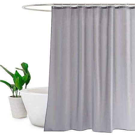 Solid Grey Shower Curtains Mildew Resistant Waterproof Bathroom