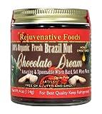 FOUR 9 oz Fresh Organic Honey Chocolate-Brazil-Nut-Dream Pure Rejuvenative Foods Smooth-Creamy Dairy-Free StoneGround white-sugar-free fudge Candy-In-Glass-Jar Certified-USDA-Organic (4 - 9 oz.)