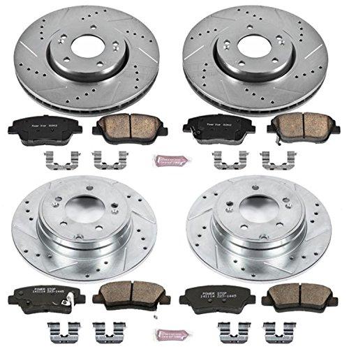 (Power Stop K5376 Front & Rear Brake Kit with Drilled/Slotted Brake Rotors and Z23 Evolution Ceramic Brake Pads)