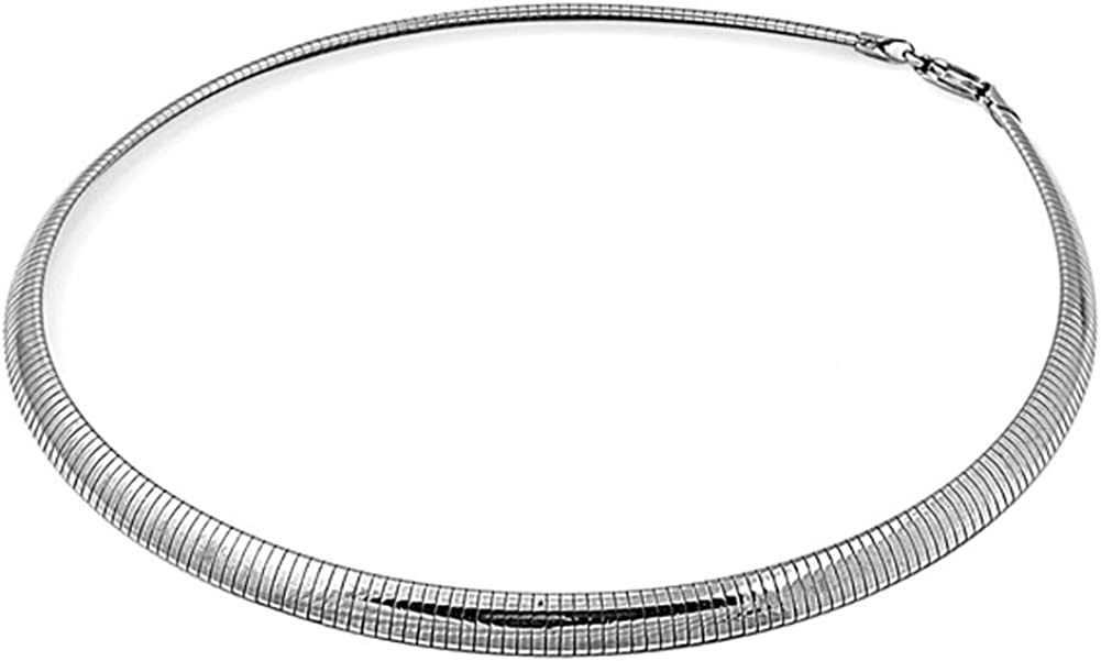 Sterling Silver Italian Omega Necklace 6mm C New Italy Max 77% OFF 925 Solid Mail order cheap