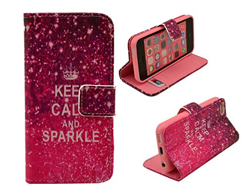 Welity Retro Keep Calm and Sparkle Design Pu Leather with wallet Case for Apple iPhone 5C and One Gifts-d