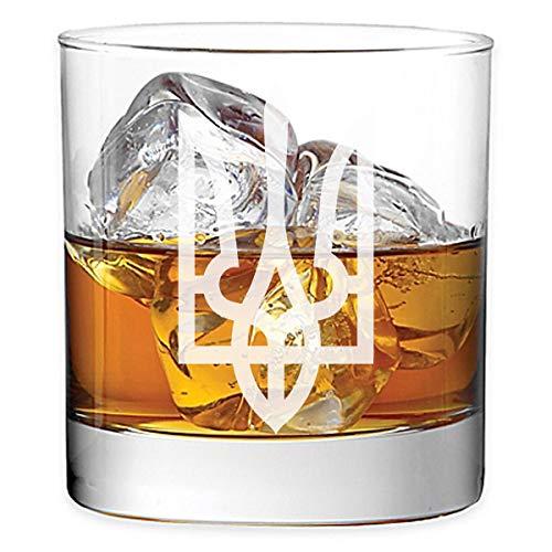 Ukraine Coat of Arms Tryzub 11 oz Rocks Glass Etched Whiskey Glass (UK-01)
