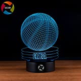 LE3D 3D Optical Illusion Desk Lamp/3D Optical Illusion Night Light, 7 Color LED 3D Lamp, Basketball 3D LED For Kids and Adults, Basket Ball Light Up