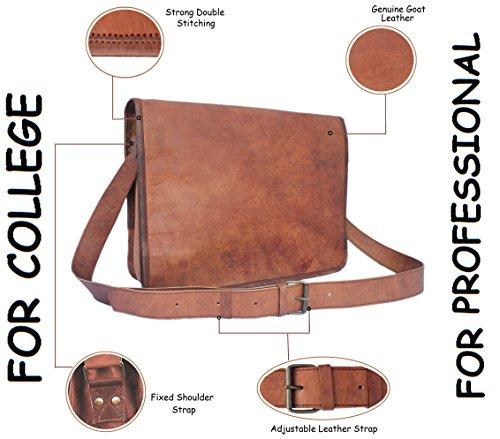 Kitchen Designer Jobs In Oman: 15 Inch Genuine Leather Handmade Vintage Rustic Crossbody Messenger Courier Satchel Bag Gift Men