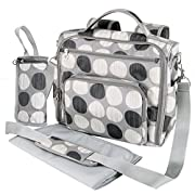 Yodo Convertible Diaper Bag Backpack, Multi-function Backpack for Baby Care Daily Out Walking, Stylish & Durable with 12 Pockets, Grey Polka Dot