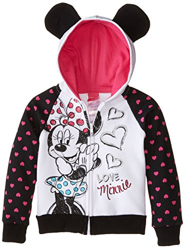 Disney Little Girls' Love Minnie Hoodie with Mouse Ears, Black, (Womens Minnie Mouse Jumper)